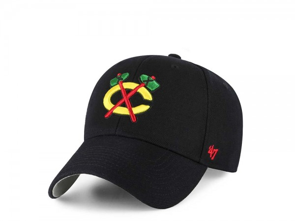47Brand Chicago Blackhawks MVP Black Strapback Cap