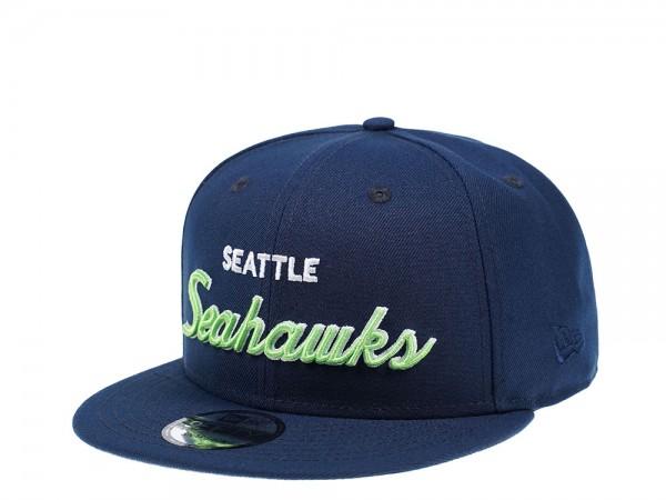 New Era Seattle Seahawks Navy Script Edition 9Fifty Snapback Cap