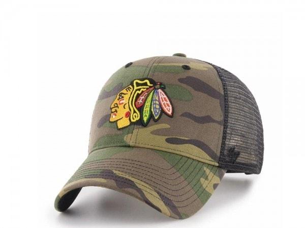 47brand Chicago Blackhawks MVP Trucker Camo Snapback Cap