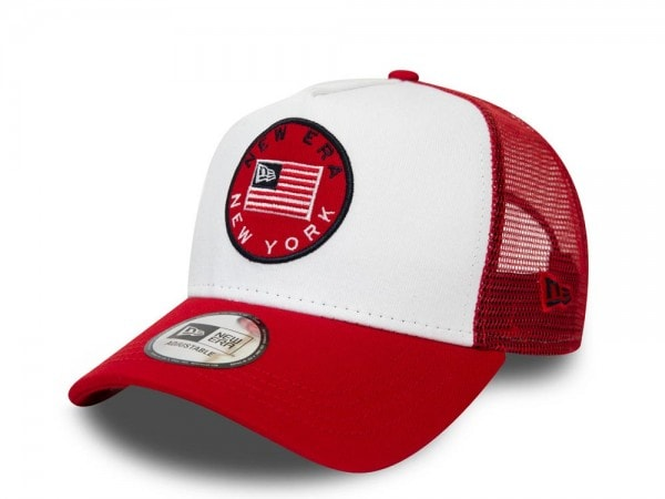 New Era Flag Trucker Red Snapback Cap