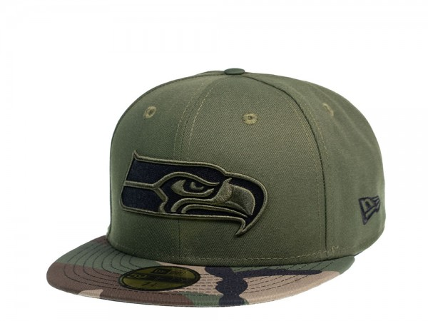 New Era Seattle Seahawks Camo Flat 59Fifty Fitted Cap