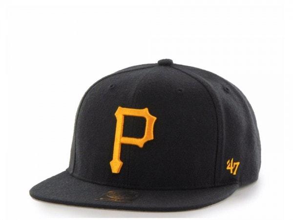 47Brand Pittsburgh Pirates Black No Shot Captain Snapback Cap
