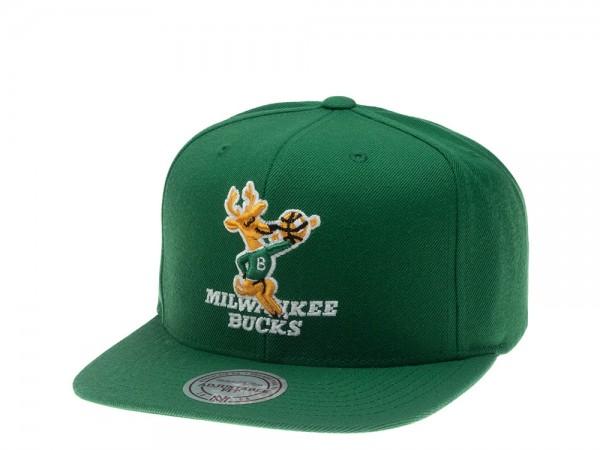 Mitchell & Ness Milwaukee Bucks Green Solid Snapback Cap